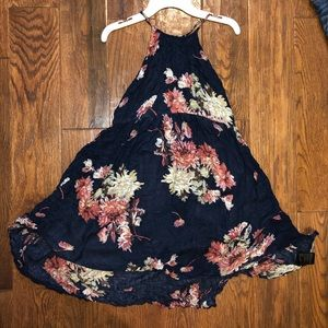 Blue foral high low dress